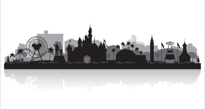 Anaheim California city skyline silhouette