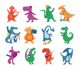 Collection funny dinosaurs in cartoon style isolated on a white background. Bright cute animal characters play musical instruments, dance and ride a skateboard and scooter. Vector illustration