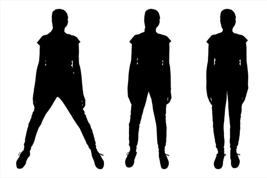 Girl stands straight, arms on a belt. Black female silhouette is isolated on a white background. Three positions in the sport. Legs together, the width of the shoulders, are very wide. Fitness.