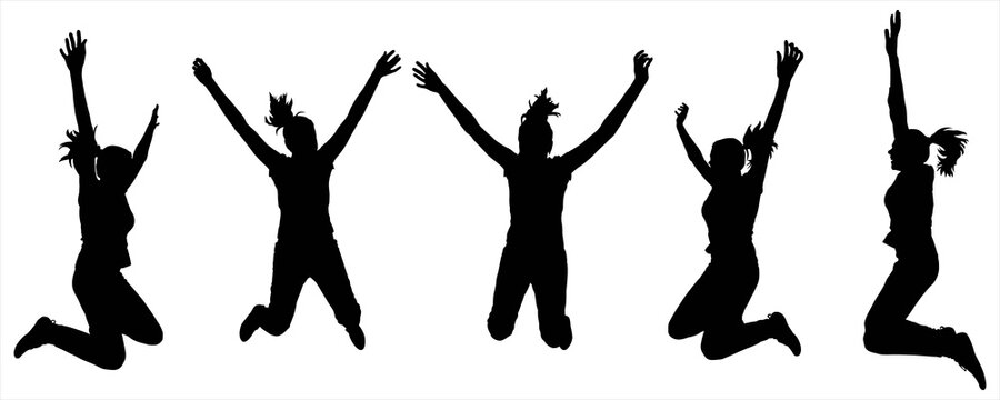 The girls are happy and jumping. Female body in a jump. Fun, celebration, dancing. Five black female silhouettes isolated on white background. Profile and frontal view.