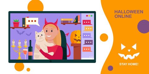 Halloween online party banner. Young woman using video conference service for collective holiday virtual celebration, chatting and party online with friends from home. Vector illustration.