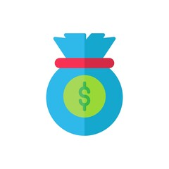 money bag flat Icon. bank and financial vector illustration on white background