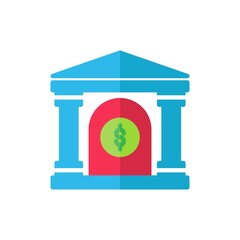 bank flat Icon. bank and financial vector illustration on white background