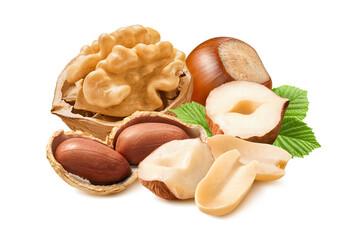 Walnut, hazelnut and peanut  isolated on white background. Nut mix