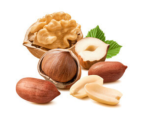 Peanuts, hazelnuts and peanuts isolated on white background