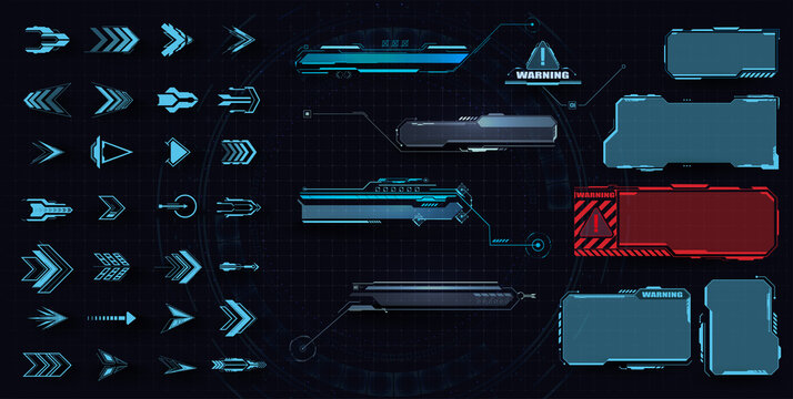 Callouts titles. Callout bar labels, information call box bars and modern digital info. Tech digital info boxes hud templates. Futuristic set advertising communication. Futuristic arrows and frames