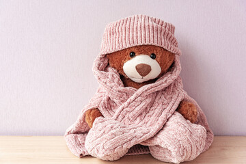 Plush stuffed toy in knitted hat and sweater. Soft teddy bear with scarf, prepared for winter or autumn colds. Love and care, cuddly for nursery. Valentines present plaything, warmth and fondness