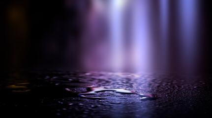 Fotomurales - Empty dark room background, street. Concrete floor, asphalt, neon light, smoke, spotlight