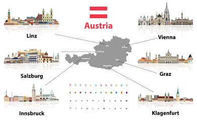 Fototapete - Austria map with main austrian cities skylines' flat style colorful icons. Navigation and location icons set. Vector illustration