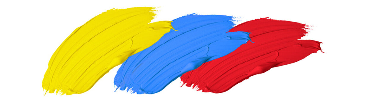Primary color / acrylic paint background banner panorama - Abstract stroke / splash stains blobs brush of blue, red and yellow paint, isolated on white texture