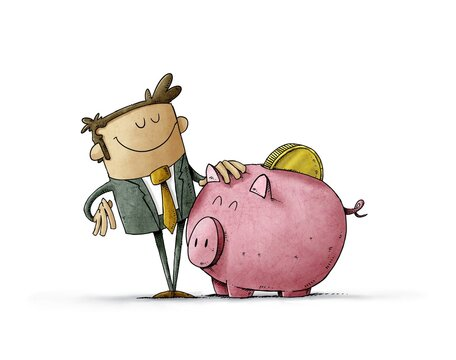 Businessman with a mascot that is a big piggy bank with a coin on his back. Concept of loving savings. isolated