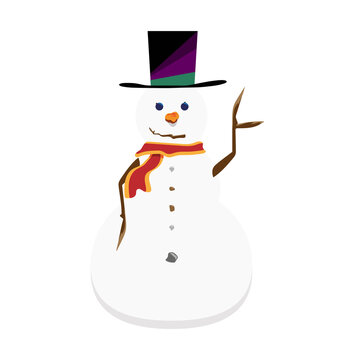 Snowman with tophat and sticks for arms - Waving - Flat vector character - Animation ready Isolated