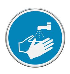 """Gebotszeichen """"Hände waschen"""" nach DIN EN ISO 7010. 3d rendering"""