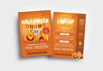 Halloween Party Flyer with Cartoon Pumpkin Illustrations