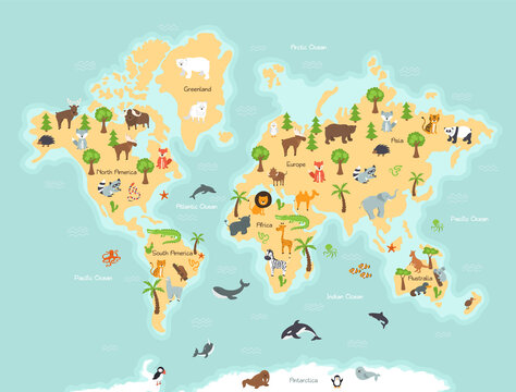 World map with wild animals and plants