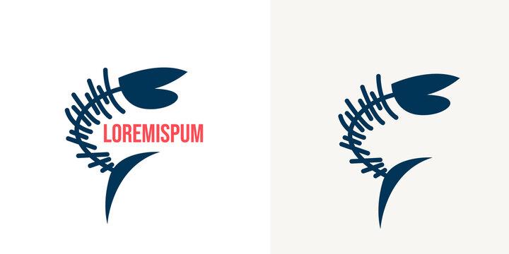 fish skeleton logo design in white background vector illustration .Bass skeleton isolated on white. Perch fish black logo.