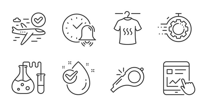 Internet report, Confirmed flight and Dry t-shirt line icons set. Chemistry lab, Water drop and Seo timer signs. Alarm bell, Whistle symbols. Web tutorial, Approved airplane, Laundry shirt. Vector