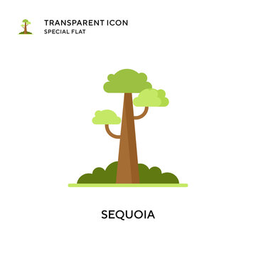 Sequoia vector icon. Flat style illustration. EPS 10 vector.