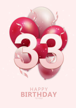 Happy 33rd birthday with realistic red and rosegold balloons on light rose background. Set for Birthday, Anniversary, Celebration Party. Vector stock.