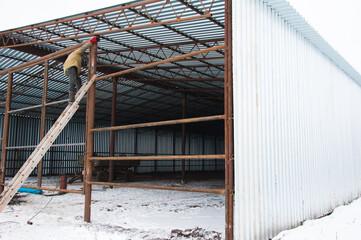 Welder during welding construction