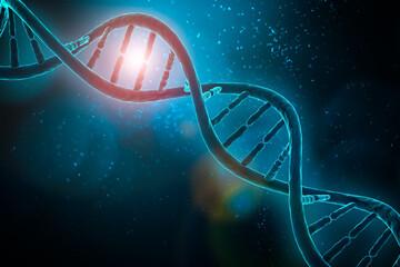 DNA double helix strands on blue background 3D rendering illustr
