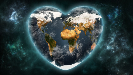 Heart shaped Earth planet on a outer space background. Love and respect the world, ecology, astronomy concepts. Earth textures provided by NASA.