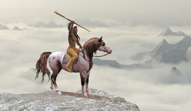 Indian Leaping Bear - An American Indian in warbonnet rides his war pony to the top of a cliff in the western mountain range.