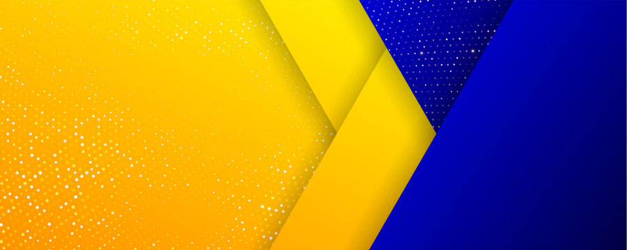 Background of gold orange glitters and blue geometric abstract pattern, vector. Golden dots confetti glittering in halftone circle spray splatter shine on blue yellow triangle geometric background