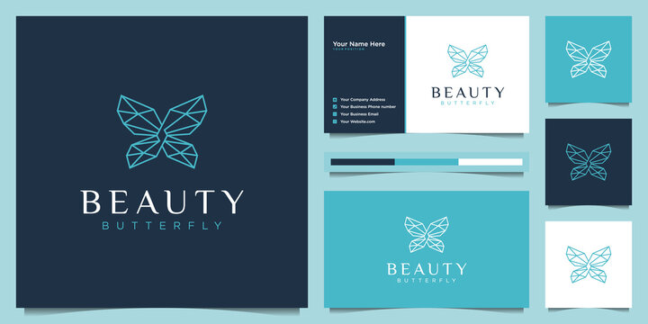 Geometric butterfly logo design and business card. beauty logo concept with infinity loop liner style.