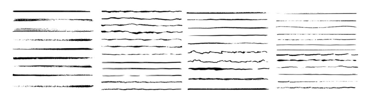 Set of wavy horizontal lines. Marker hand-drawn line border set and scribble design elements. Lines hand drawn paint brush stroke. Vector set isolated on white. Hand drawn scribble.Black ink