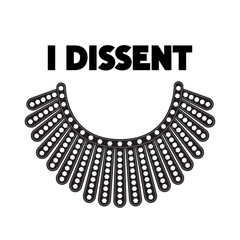 Door stickers Wall Decor With Your Own Photos I Dissent vector concept on white. Dissent collar and black lettering isolated.