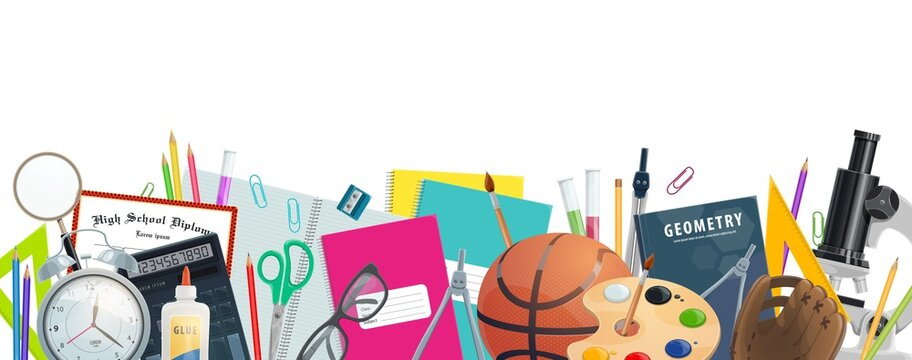School supplies vector banner of education and back to school design. Student stationery border with books, pencils, calculator and microscope, pens, notebooks and paint, tubes, scissors and glasses