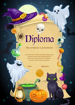 Diploma certificate vector template of kids education. Elementary school, kindergarten or preschool graduation diploma scroll with frame of Halloween holiday ghosts, pumpkin, witch hat and cat