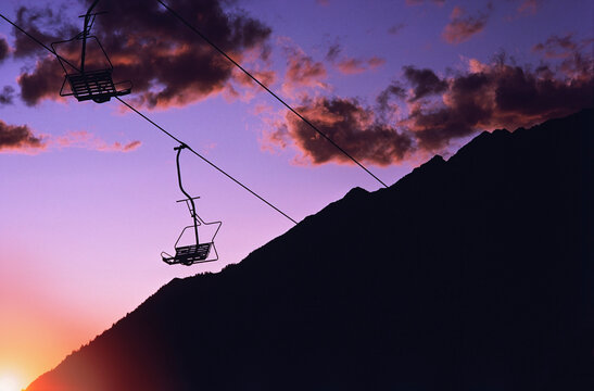 Silhouette of a ski lift, Snowbird, Salt Lake County, Utah, USA