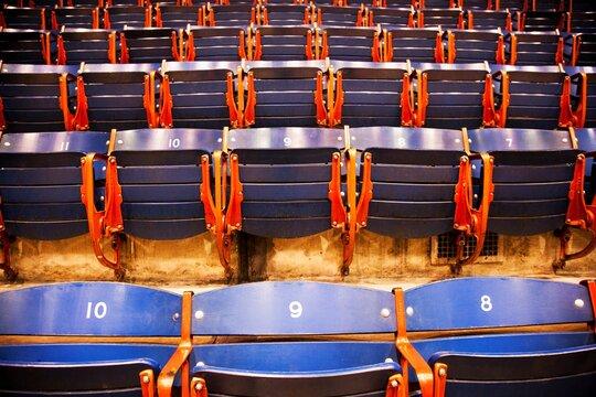 Rows of empty seats in a university gymnasium, Dallas, Texas, USA