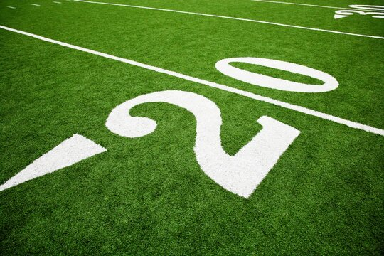 The 20 yard line on a football field, Southern Methodist University, University Park, Dallas County, Texas, USA