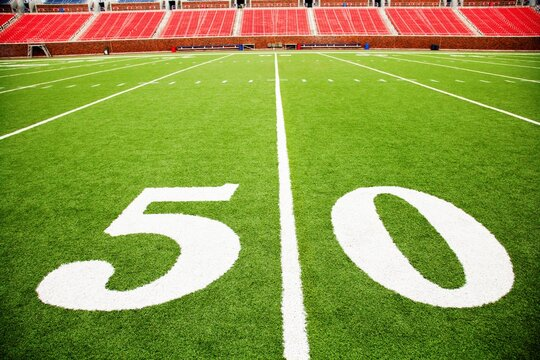 The 50 yard line on a football field, Southern Methodist University, University Park, Dallas County, Texas, USA