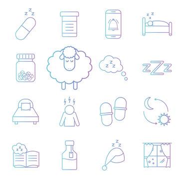insomnia gradient style set icons vector design