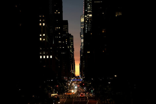 42nd Street is pictured at dusk in New York City
