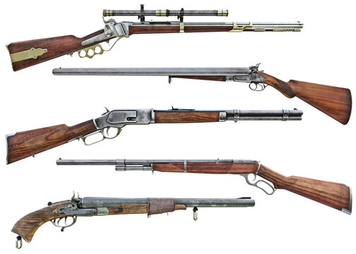 Western cowboy rifle and shotgun booster pack collection of assorted weapons on an isolated white background . 3d rendering