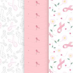 Pastel color breast cancer awareness ribbon seamless pattern vector background bundle set
