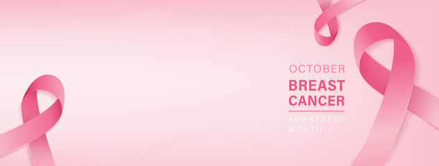 Beautiful breast cancer awareness campaign banner with pink ribbon symbols on gradient pastel light pink background and space for text
