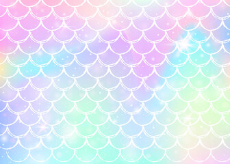 Kawaii mermaid background with princess rainbow scales pattern.
