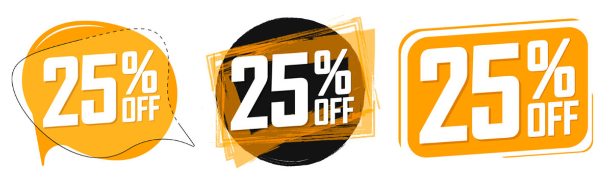 Set Sale 25% off banners, discount tags design template, lowest price, vector illustration