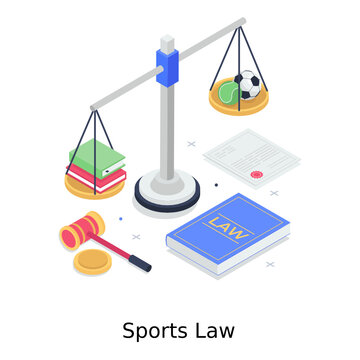 A design of sports law in trendy isometric vector
