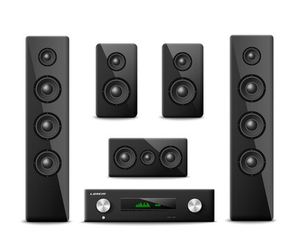 Audio sound system for home cinema a vector realistic isolated 3d illustration