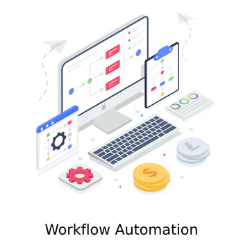 An illustration of w An illustration of workflow automation in editable style workflow automation in editable style
