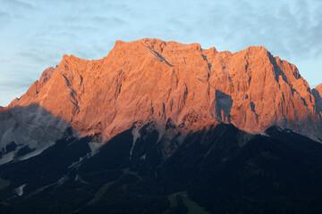 Zugspitze Mountain glowing seen from Lermoos. Tyrol. Austria