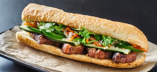 vietnamese bahn mi sandwich with pork belly