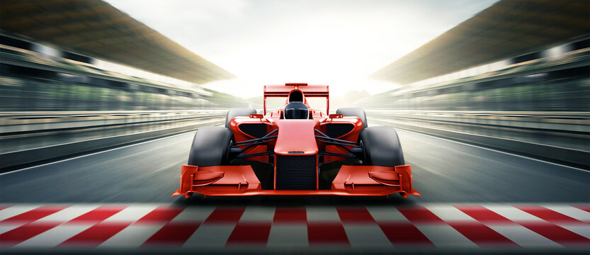 Race driver pass the finishing point and motion blur backgroud. 3D rendering